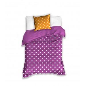 Detská posteľná návliečka vo fialovej farbe a bielymi bodkami