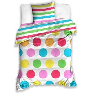 Obojstranná detská obliečka na posteľ v bielej farbe a farebnými guľôčkami