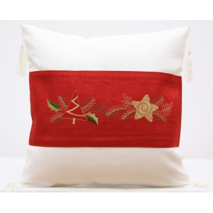 Bielo červená obliečka na vakúšik s vianočným motívom