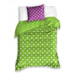 Jednoduchá zelená obliečka pre deti s fialovým vankúšom