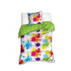 Bielo zelená detská obliečka na posteľ s farebnými machuľami