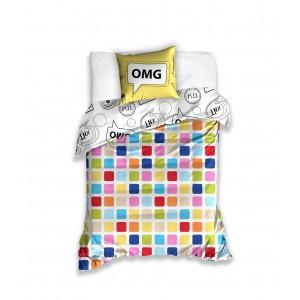 Detská obliečka na posteľ v bielej farbe s motívom OMG