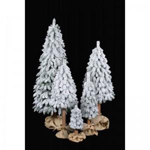 Umelý zasnežený stromček na Vianoce s kmeňom