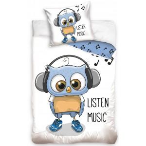 Obojstranné biele návliečky na posteľ s detským vzorom LISTEN MUSIC