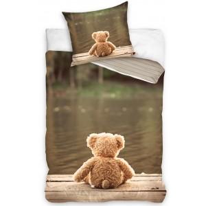 Detské posteľné obliečky v hnedej farbe s plyšovým mackom
