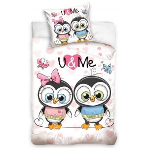 Obojstranná posteľná obliečka pre deti v bielo ružovej farbe U&ME