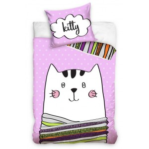 Ružová detská obliečka KITTY s kreslenou mačičkou