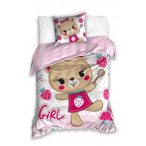 Dievčenská posteľná návliečka v ružovej farbe s medvedicou