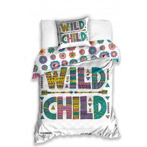 Obojstranná biela obliečka pre deti WILD CHILD s farebným motívom