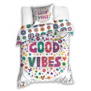 Originálna posteľná obliečka pre deti s farebným vzorom GOOD VIBES