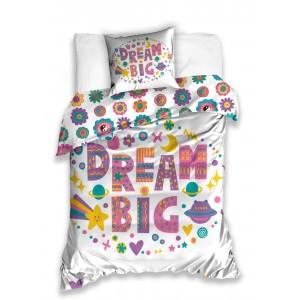 Biela detská obliečka na posteľ DREAM BIG s farebným vzorom