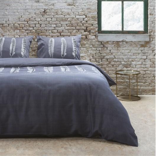 Tmavo sivé posteľné návliečky s pierkami