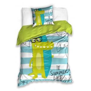 Detská posteľná obliečka s motívom krokodíla THE SUMMER IS HERE