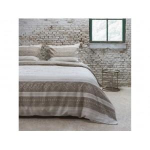 Béžové posteľné návliečky s pruhmi a nápismi