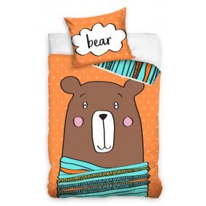 Obojstranná posteľná návliečka v oranžovej farbe s hnedým medveďom