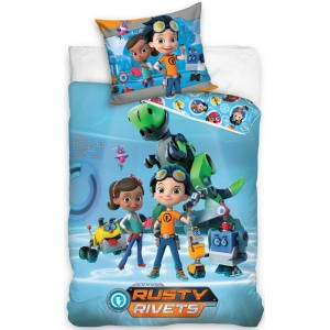 Detská posteľná návliečka v modrej farbe s postavičkami RUSTY RIVETS