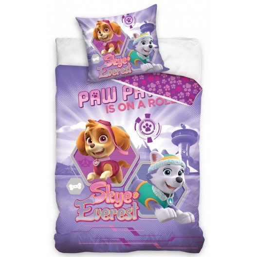 Bavlnená obliečka pre deti vo fialovej farbe a motívom PAW PATROL