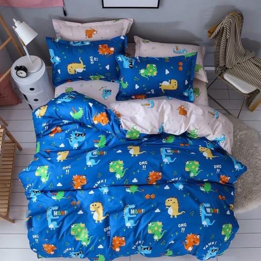 Originálna detská návliečka na postel v modrej farbe s postavičkami