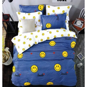 Lacná detská obliečka na posteľ so smajlikami v modrej farbe