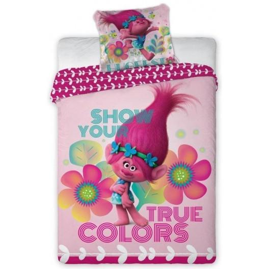 Originálna bavlnená obliečka na posteľ v ružovej farbe TROLLS