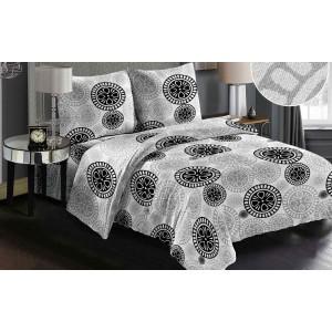 Obojstranná sivá posteľná obliečka s čiernym vzorom