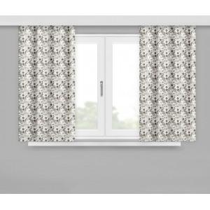 Moderné hotové závesy v sivej farbe s malými béžovými kvetmi