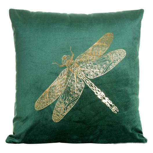 Luxusná obliečka na vankúš zelenej farby s potlačou vážky