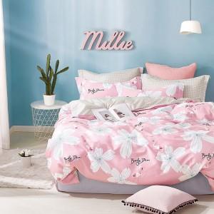 Bavlnená obojstranná obliečka do spálne v ružovej farbe s bielymi kvetmi