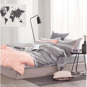 Originálna sivo ružová obliečka na postel v retro štýle s pruhmi