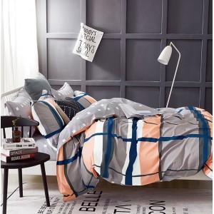 Moderná obojstranná obliečka do spálne v sivej farbe s farebnými pruhmi