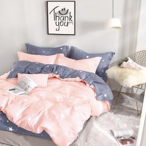Kvalitná posteľná obliečka do spálne v ružovej farbe s bielymi hviezdičkami