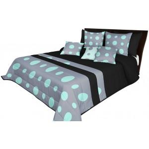Kvalitné prehozy na manželskú posteľ v čiernej farbe s mätovo sivým motívom