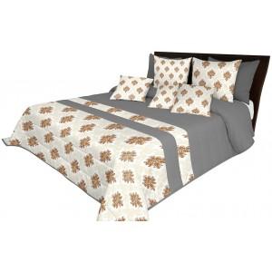 Luxusný prehoz na posteľ v sivej a béžovej farbe s hnedými ornamentmi