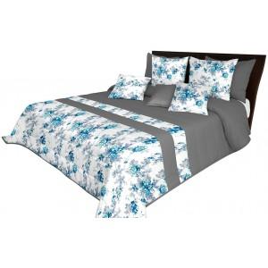 Sivo biely luxusný prehoz na posteľ s tyrkysovými kvetmi