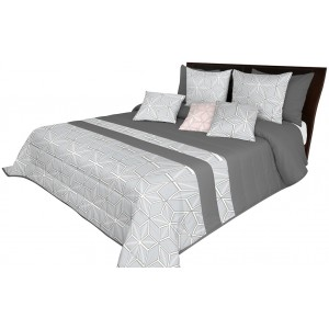 Kvalitný posteľný prehoz v sivej farbe s motívom kociek