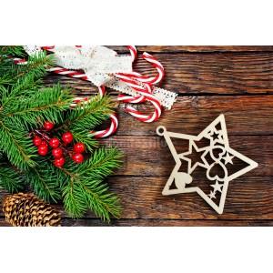 Drevená hviezdička na vianočný stromček