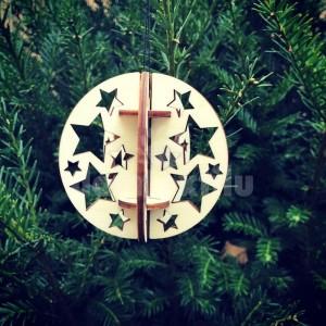 Vianočná 3D guľa s hviezdičkami z dreva
