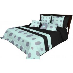 Kvalitná prešívaná prikrývka na posteľ v čierno mätovej farbe so sivými kruhmi