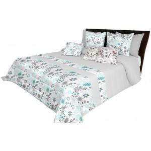 Jednoduchý prešívaný prehoz na posteľ v svetlo sivej farbe s motívom tyrkysových kvetov