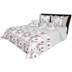 Svetlo sivá luxusná prikrývka na posteľ s prešívaním a motívom ružových kvetov