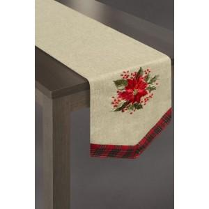 Vianočná štóla v zlatej farbe s červenými kvetmi