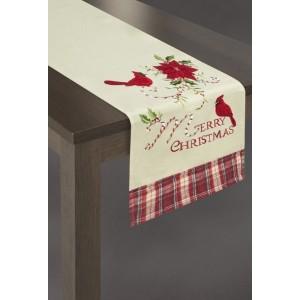 Krémová vianočná štóla na stôl s červeným kvetom a vtáčikmi