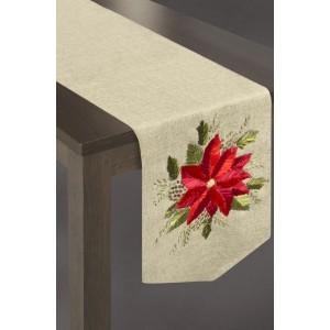 Behúň na stôl v béžovej farbe s červeným kvetom