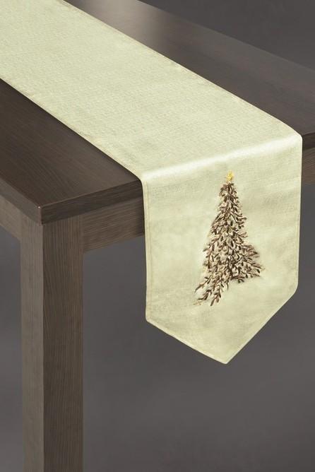 DomTextilu Krémové vianočné prestieranie na stôl s vianočným stromčekom35x180 12281-157909