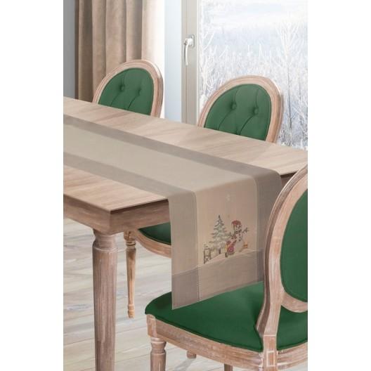 Originálny behúň na stôl na Vianoce v béžovej farbe s vianočným motívom