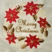 Vianočný behúň MERRY CHRISTMAS v krémovej farbe s vencom červených kvetov