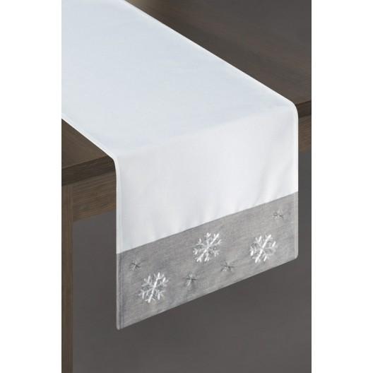 Biela štóla na stôl so sivým zakončením a snehovými vločkami