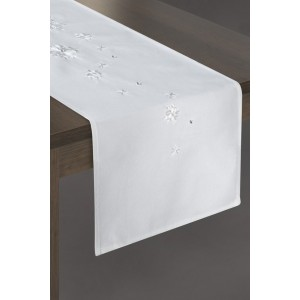 Biely behúň na stôl s motívom snehových vločiek