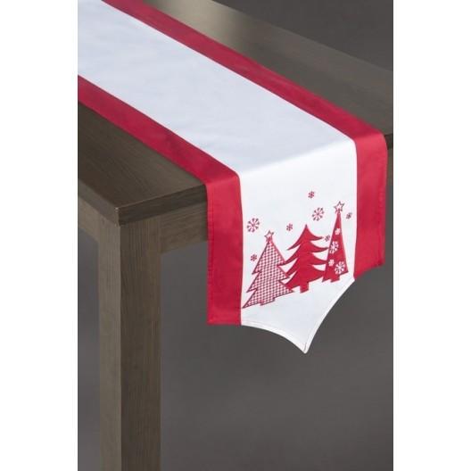 Vianočná štóla na stôl v bielo červenej farbe s 3 stromčekmi