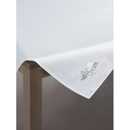 Biely slávnostný behúň na stôl s výšivkou snehovej vločky